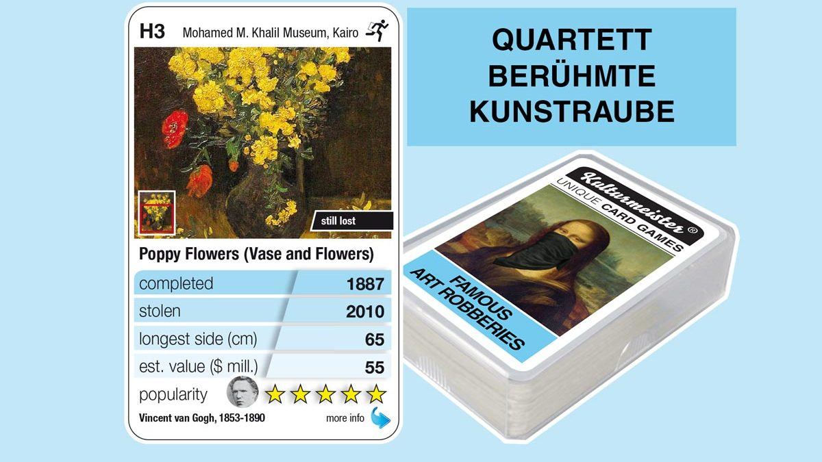 cardgame famous art robberies: playing card H3 with facts to the art robbery of Van Gogh: Poppy Flowers (1887)