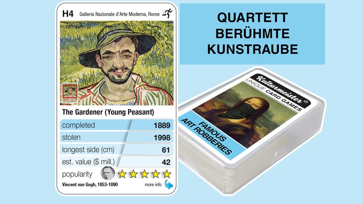 cardgame famous art robberies: playing card H4 with facts to the art robbery of Van Gogh: Der Gärtner (Young peasant, 1889)