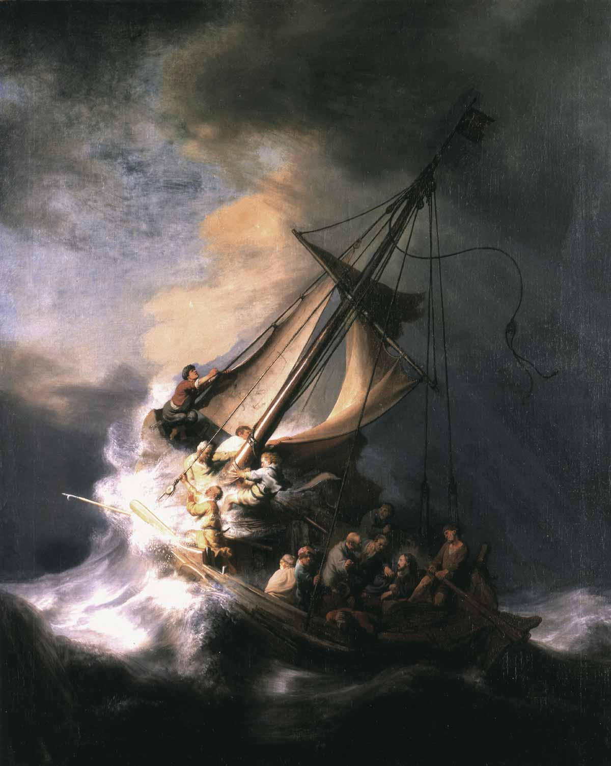 Rembrandt van Rijn's painting Christ in the Storm on the Sea of Galilee, completed in 1633, was stolen from the Isabella Stewart Gardner Museum in 1990. It has been missing since then.
