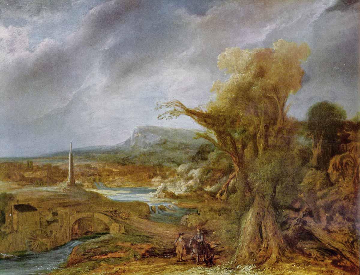 Govaert Flinck: Landscape with Obelisk (1638)