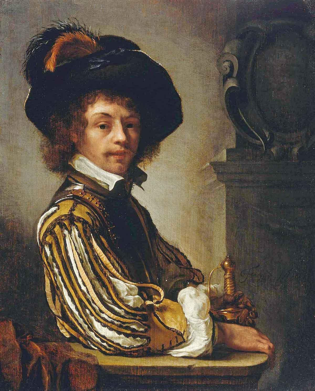 Gemälde von Frans Van Mieris: Ein Kavalier (Selbstportrait, 1659)