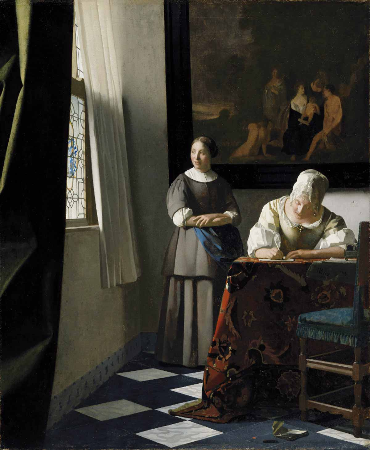 Stolen painting Jan Vermeer: Lady Writing a Letter with her Maid (1671)