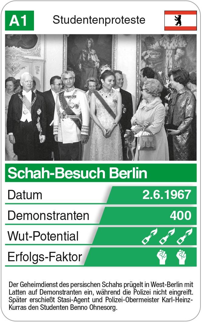 Spielkarte A1: Schah-Besuch Berlin 1967