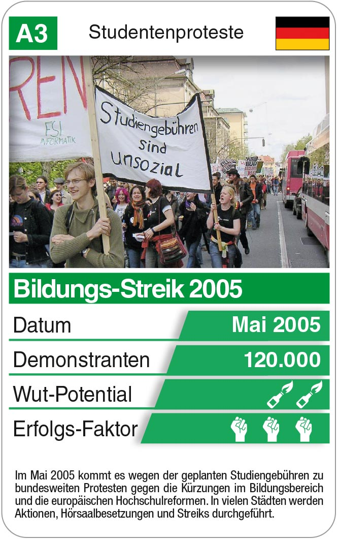 Spielkarte A3: Bildungs-Streik 2005