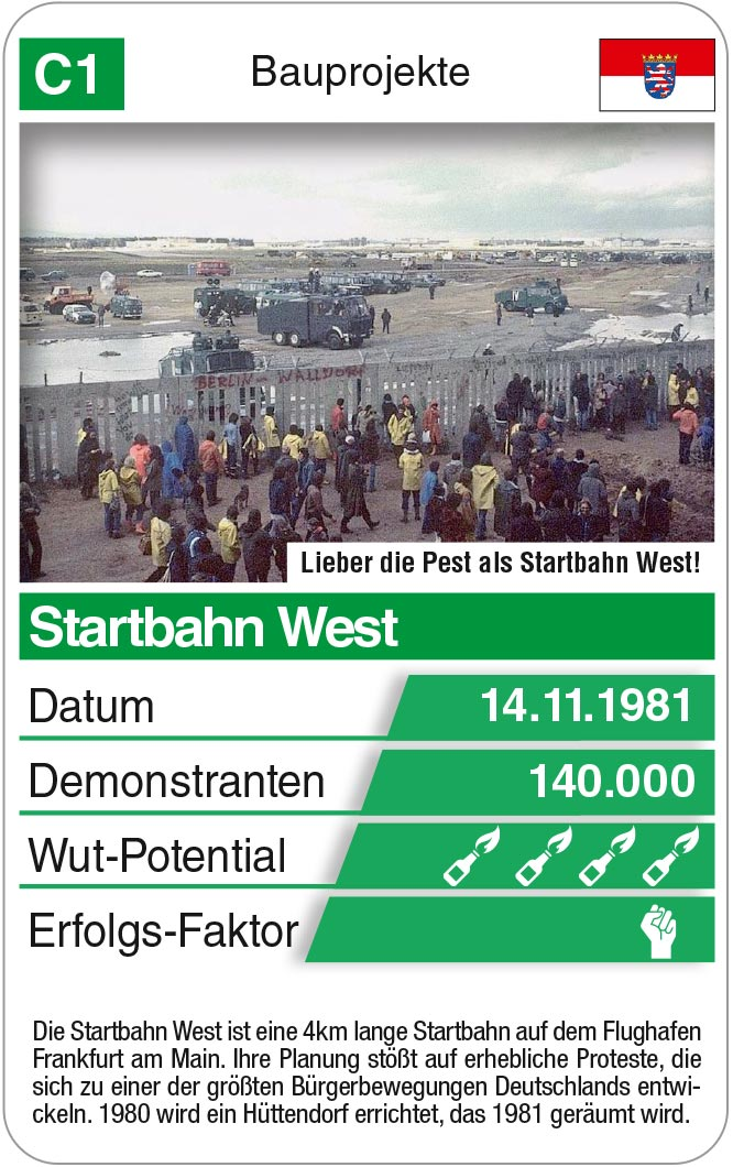 Spielkarte C1: Bauprojekt Startbahn West