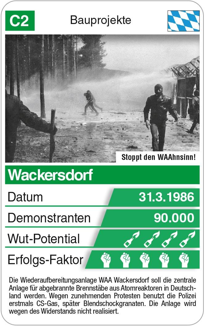 Spielkarte C2: Bauprojekt Wackersdorf 1986