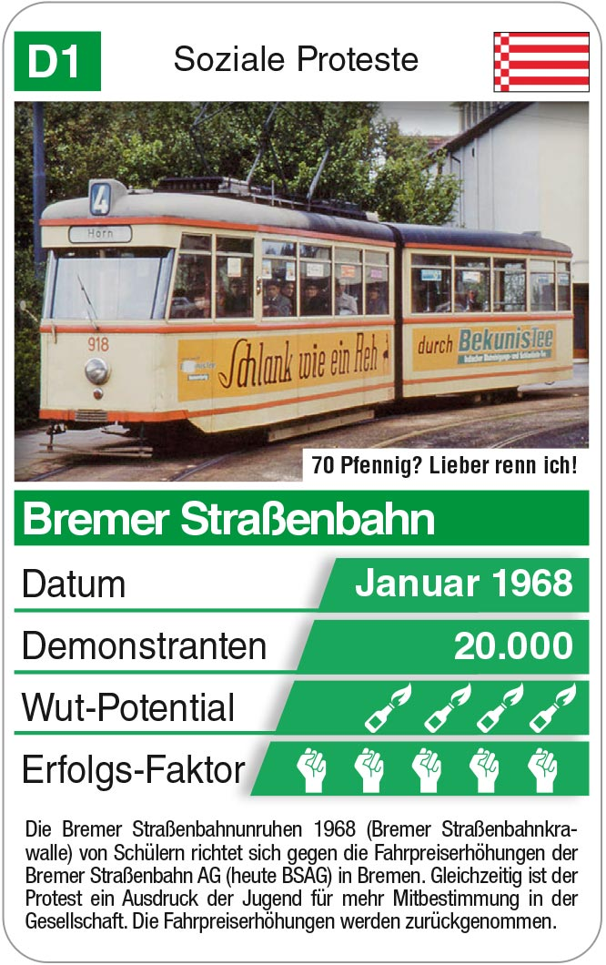 Spielkarte D1: Bremer Straßenbahnkrawalle 1968