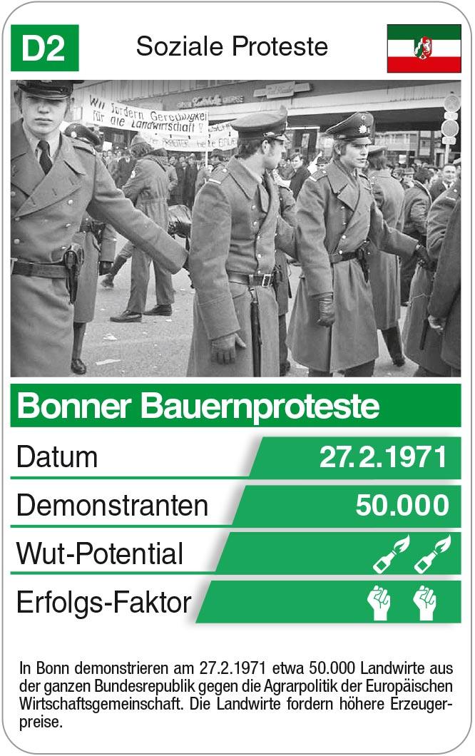 Spielkarte D2: Bonner Bauernproteste 1971