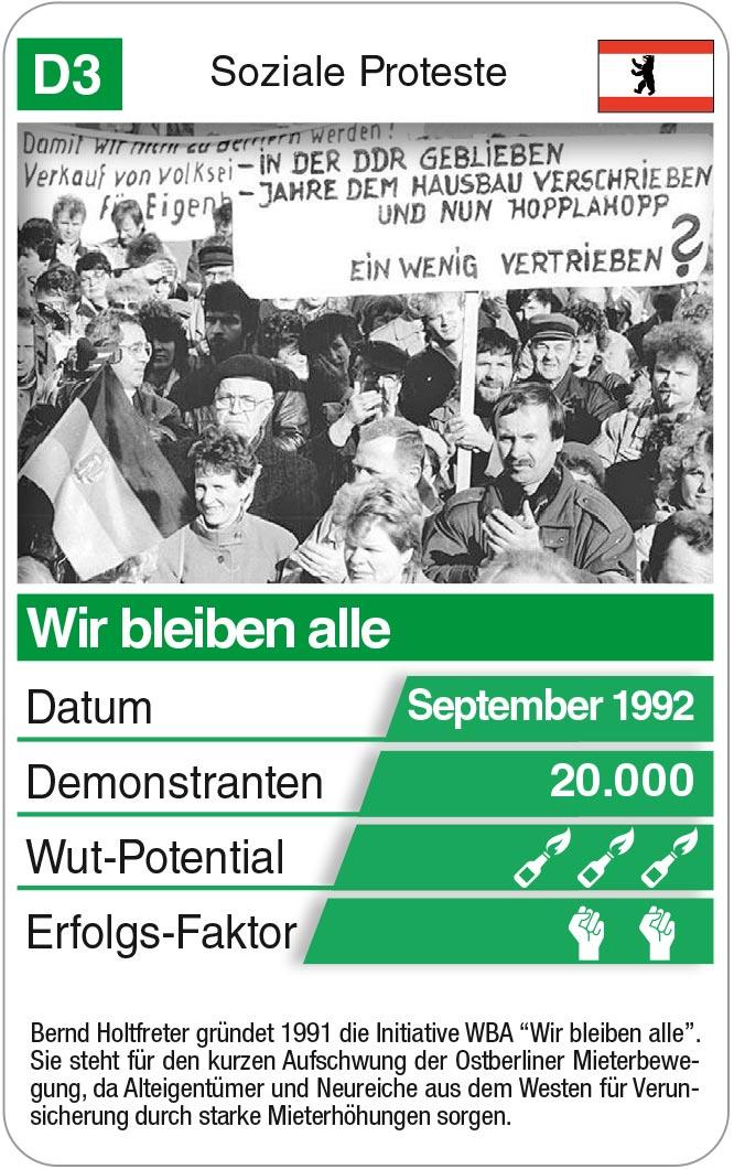 Spielkarte D3: Mieterbewegung Wir Bleiben Alle 1992
