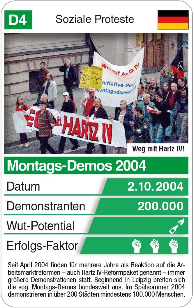 Spielkarte D4: Montags-Demos 2004