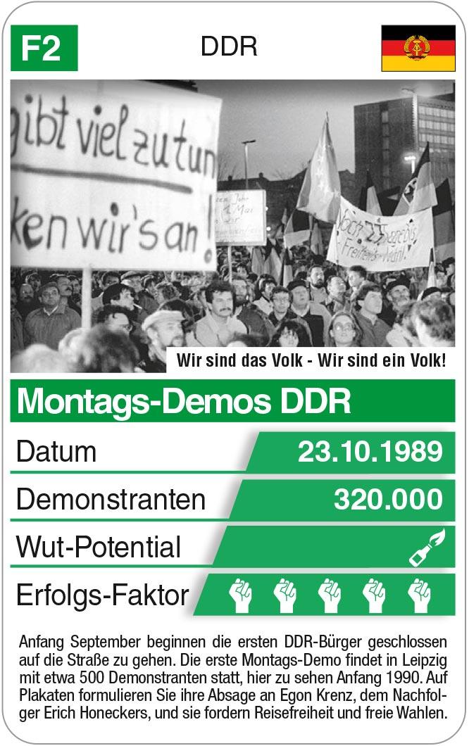 Spielkarte F2: Montags-Demos DDR