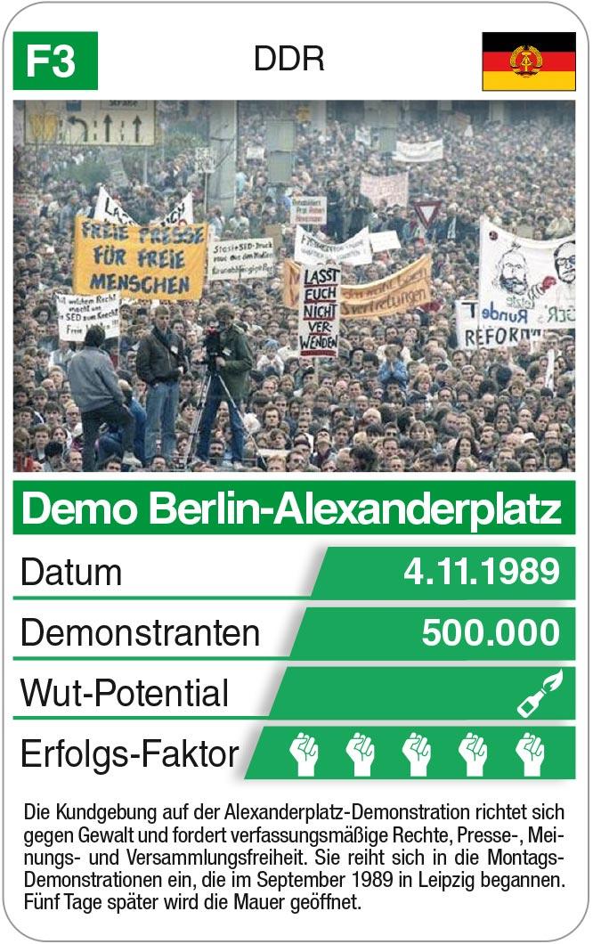 Spielkarte F3: Demo Berlin-Alexanderplatz 1989