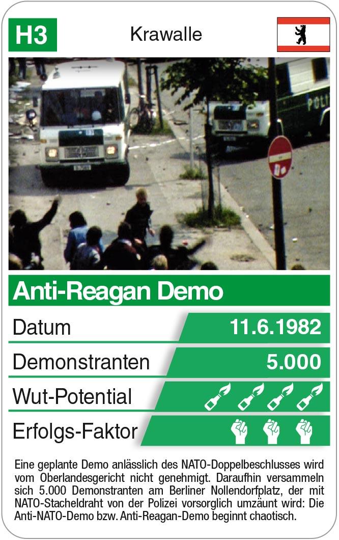 Spielkarte H3: Anti-Reagan Demo 1982