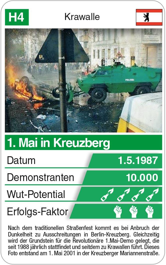 Spielkarte H4: 1. Mai Ausschreitung in Berlin-Kreuzberg