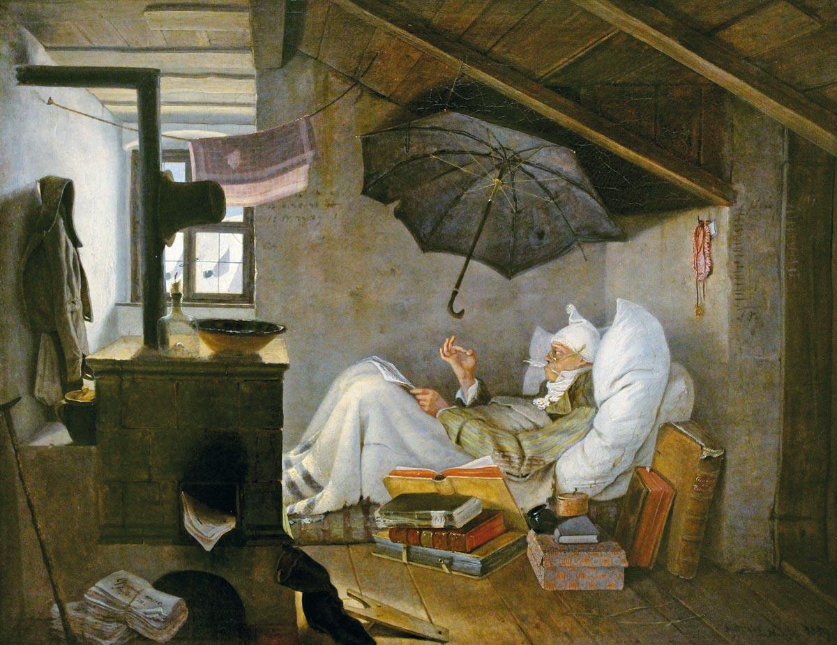 Stolen painting by Carl Spitzweg: The Poor Poet (1839)