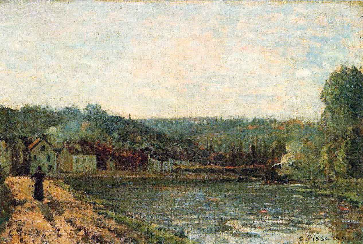 Stolen painting by Camille Pissarro: The banks of the Seine at Bougival (1871)