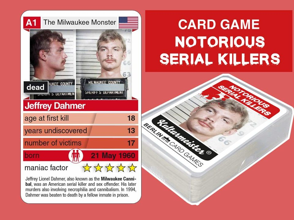 card game Notorious Serial Killers: playing card A1 with facts about serial killer Jeffrey Dahmer
