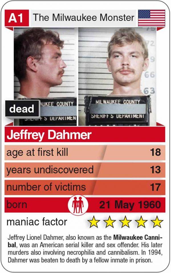 Jeffrey Dahmer als Spielkarte vom Kartenspiel Notorious Serial Killers