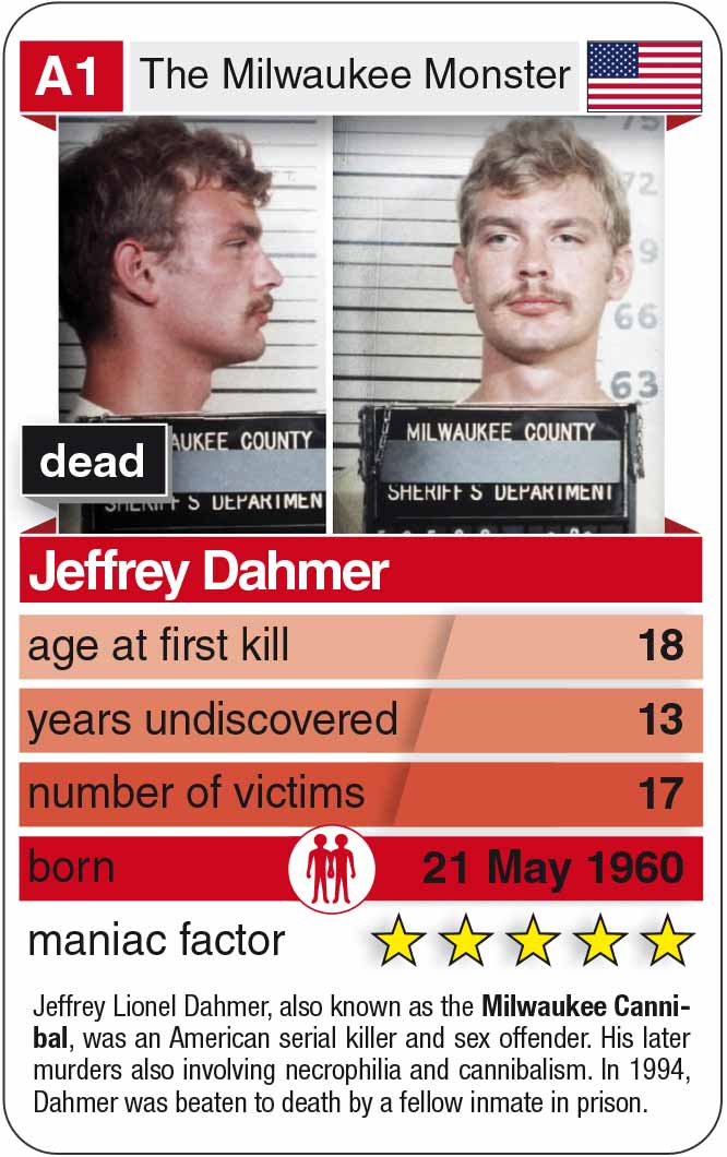 playing card A1 of the cardgame Notorious Serial Killers with Jeffrey Dahmer