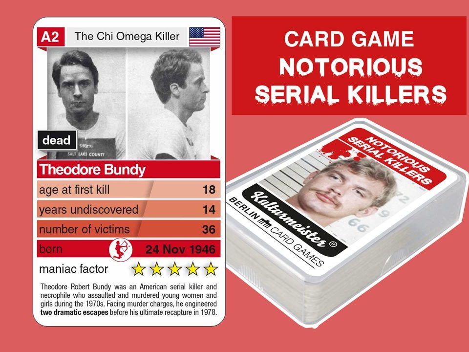 cardgame Notorious Serial Killers: playing card A2 with facts about serial killer Ted Bundy