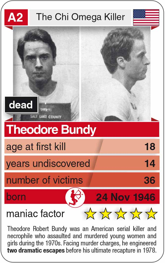 playing card A2: Ted Bundy (* 1946 – † 1989)