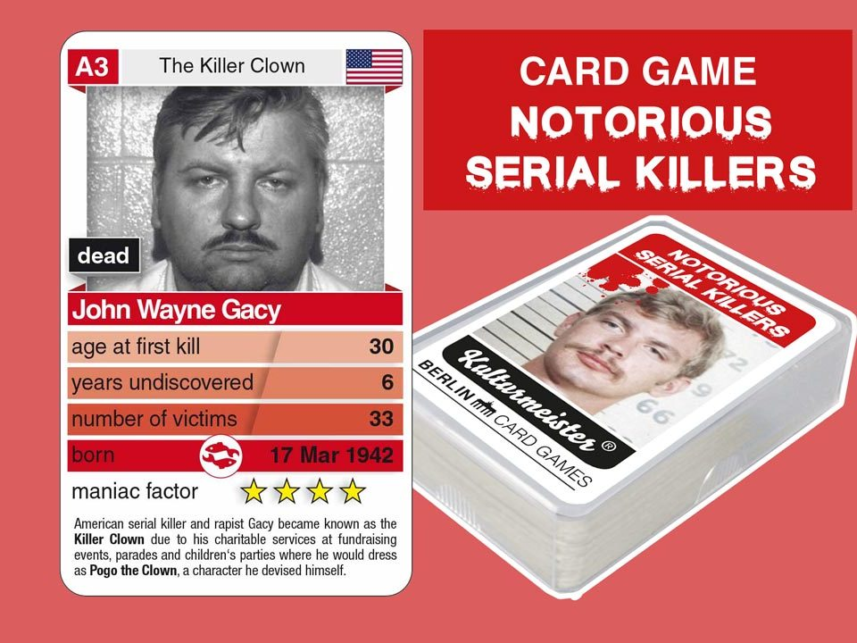 cardgame Notorious Serial Killers: playing card A3 with facts about serial killer John Wayne Gacy