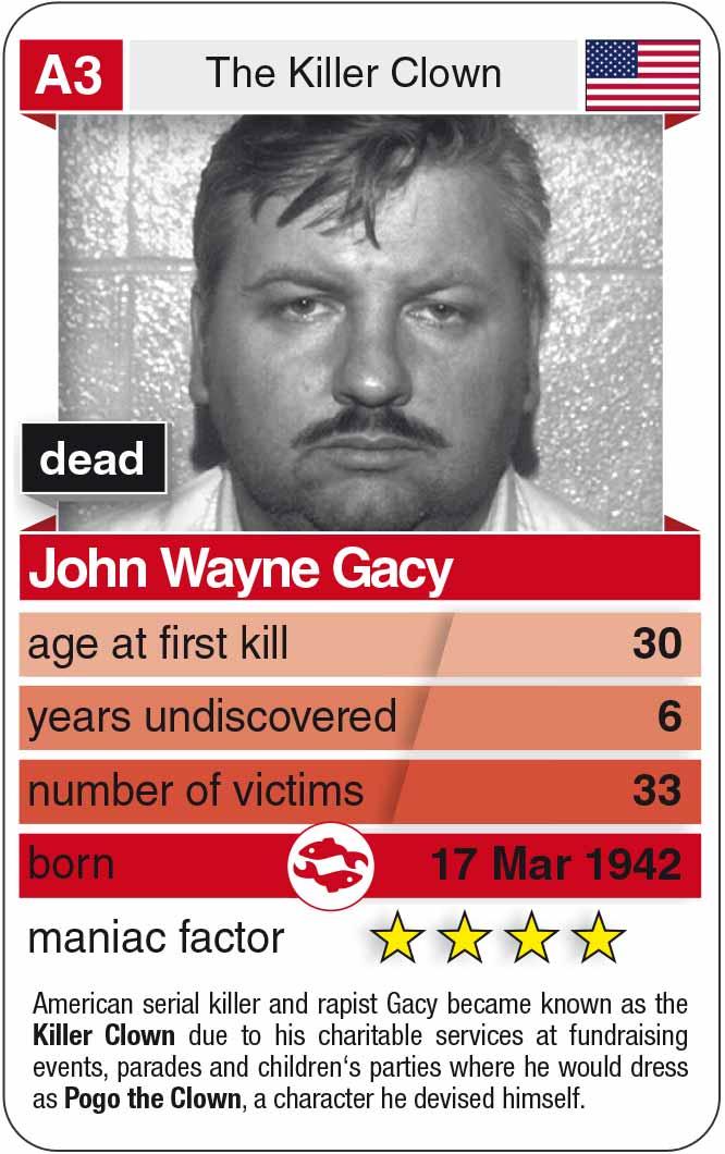 playing card A3:  John Wayne Gacy (* 1942 – † 1994)