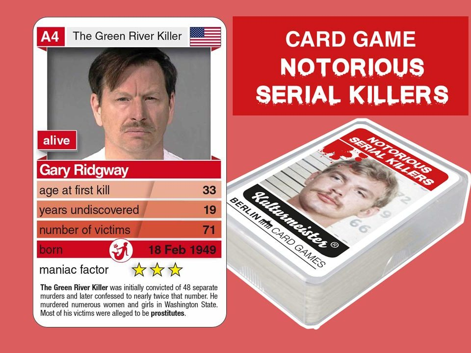 cardgame Notorious Serial Killers: playing card A4 with facts about serial killer Gary Ridgway