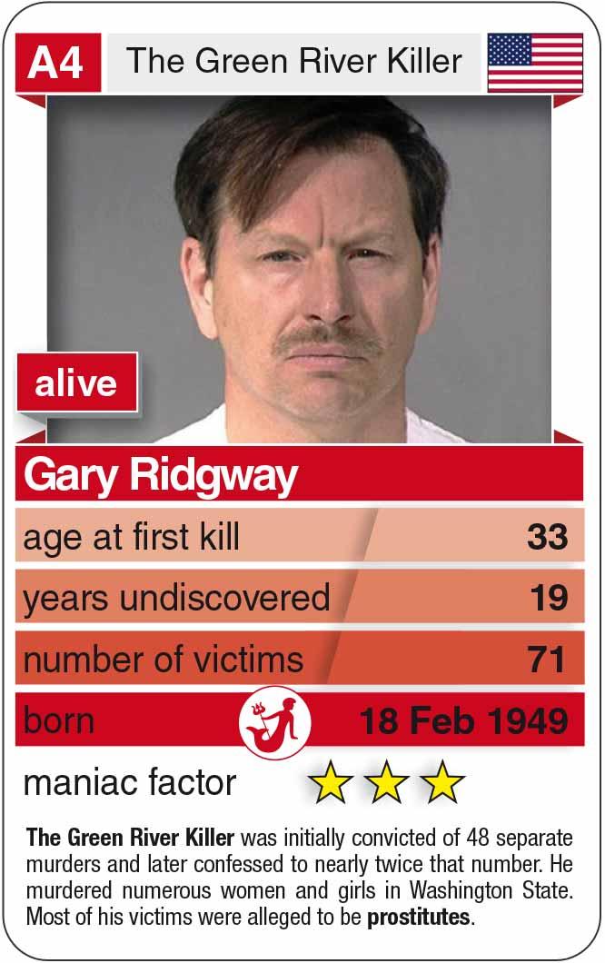 Spielkarte A4:  Gary Ridgway (* 1949 – heute)