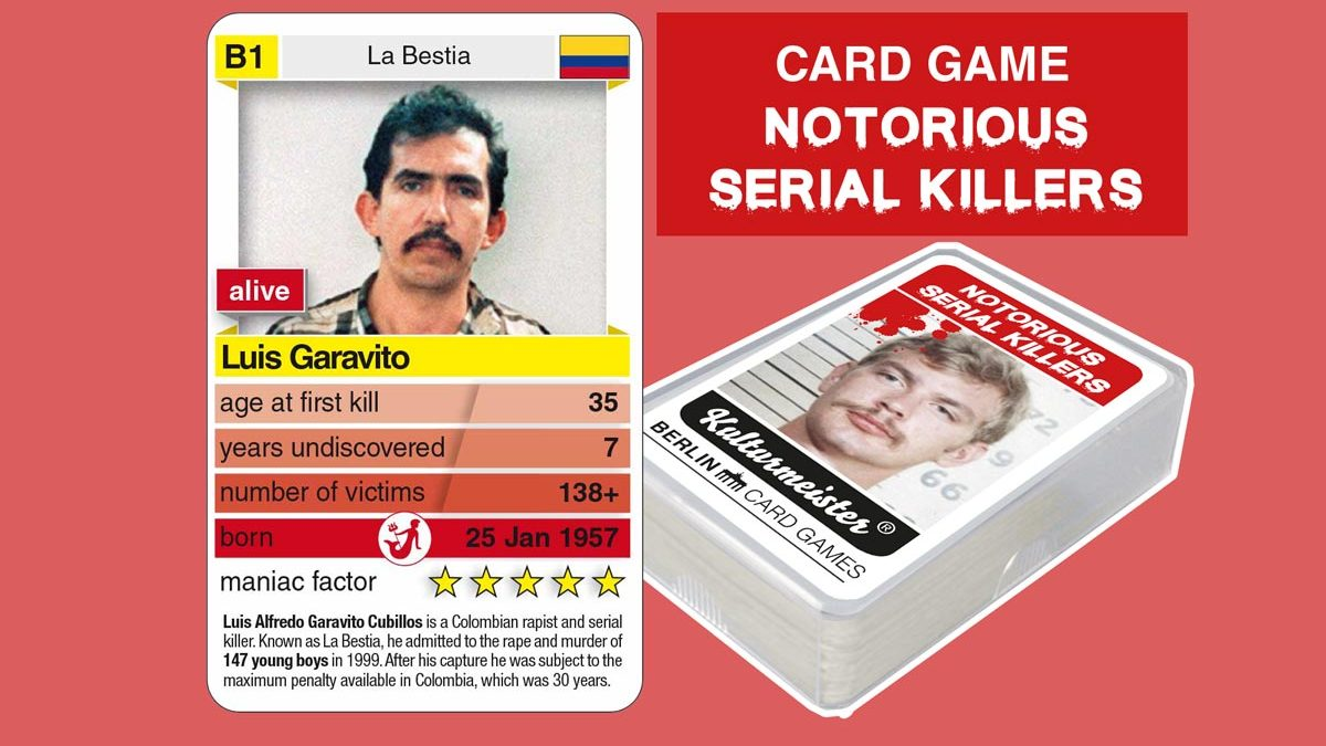 cardgame Notorious Serial Killers: playing card B1 with facts about serial killer Luis Garavito