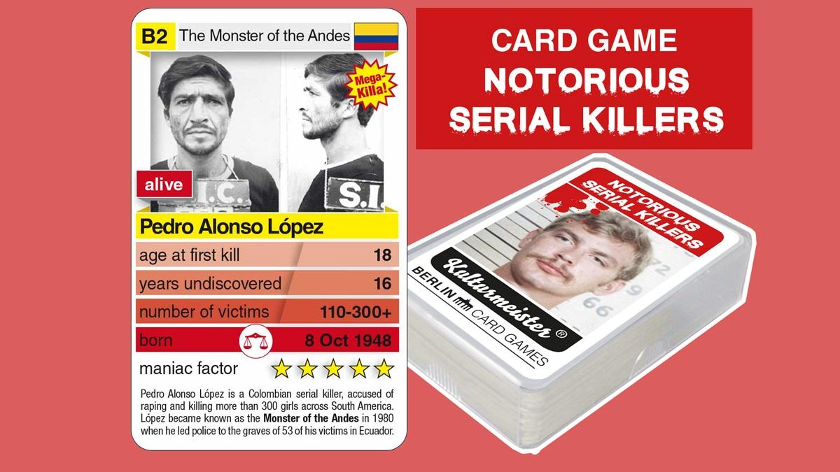 cardgame Notorious Serial Killers: playing card B2 with facts about serial killer Pedro Alonso Lopez