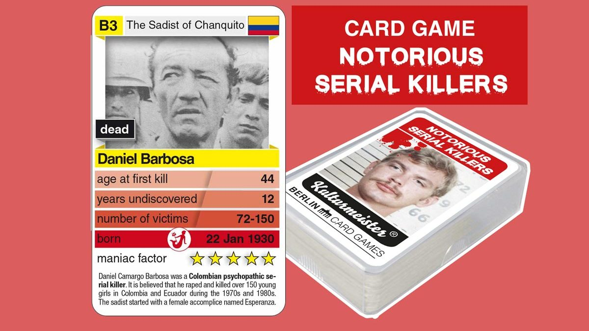 cardgame Notorious Serial Killers: playing card B3 with facts about serial killer Daniel Barbosa