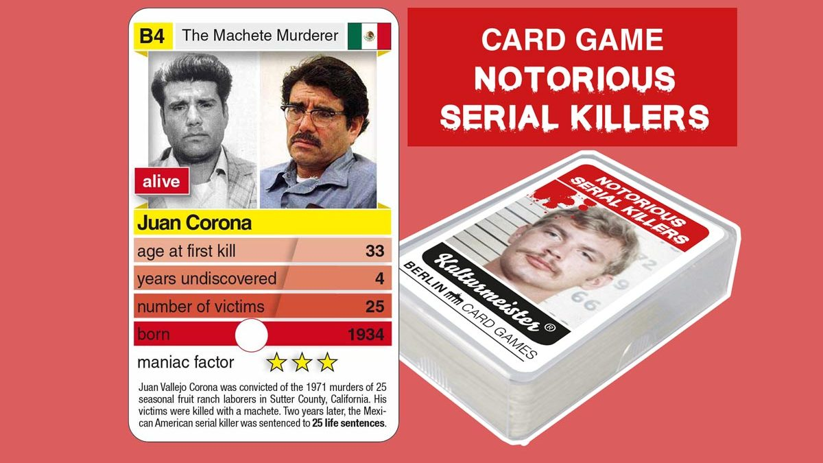 cardgame Notorious Serial Killers: playing card B4 with facts about serial killer Juan Corona