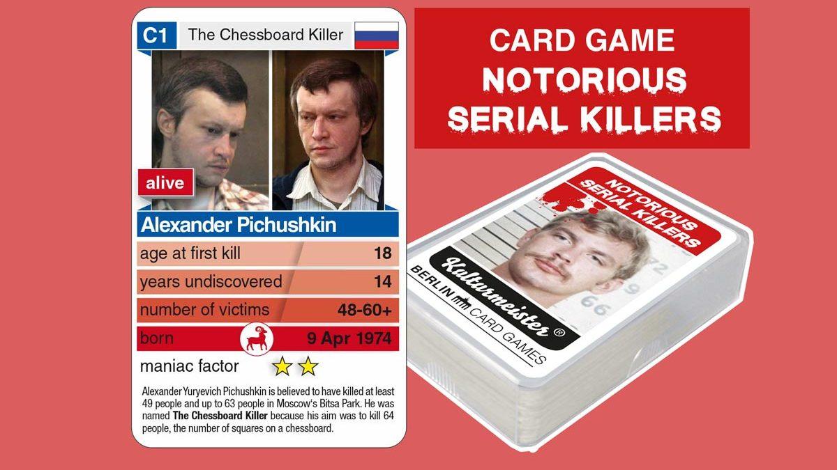 Quartettspiel Notorious Serial Killers: Spielkarte C1 mit Daten und Fakten zum Serienmörder Alexander Pichushkin