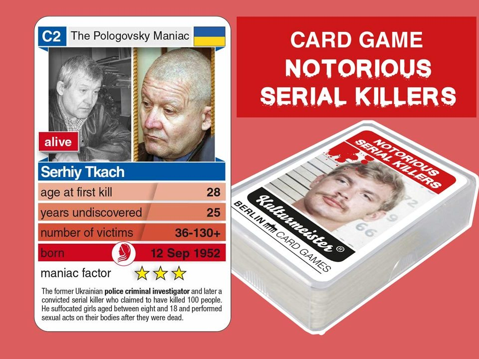 cardgame Notorious Serial Killers: playing card C2 with facts about serial killer Serhiy Tkach