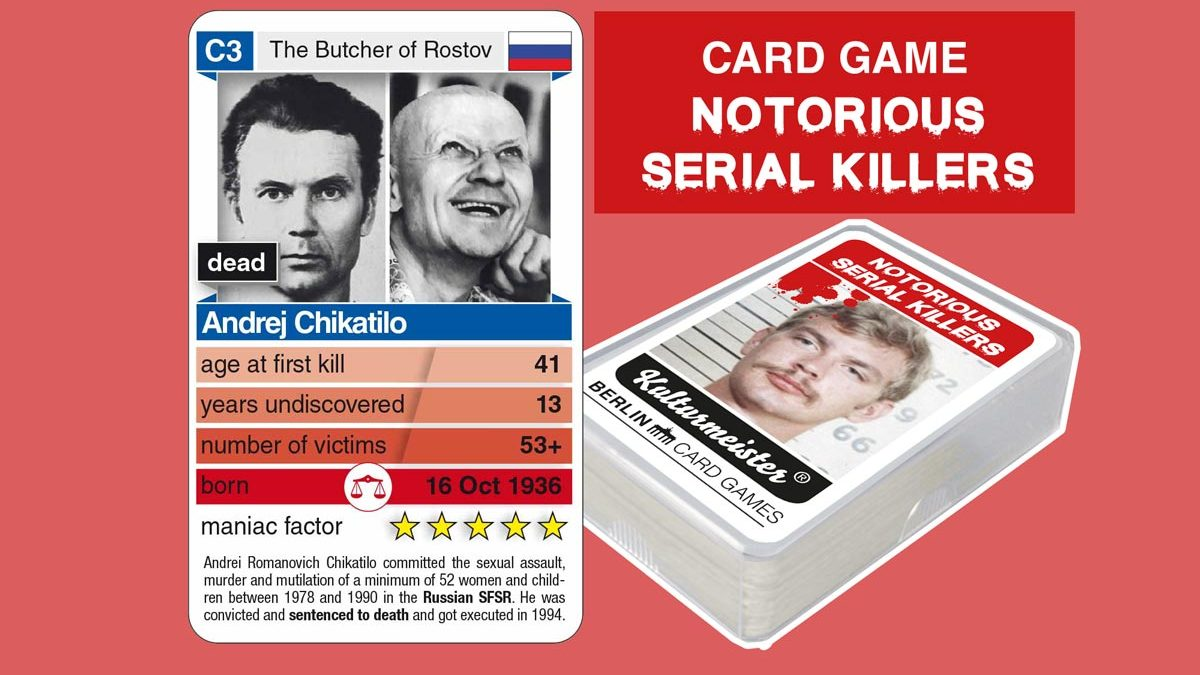 cardgame Notorious Serial Killers: playing card C3 with facts about serial killer Andrej Chikatilo