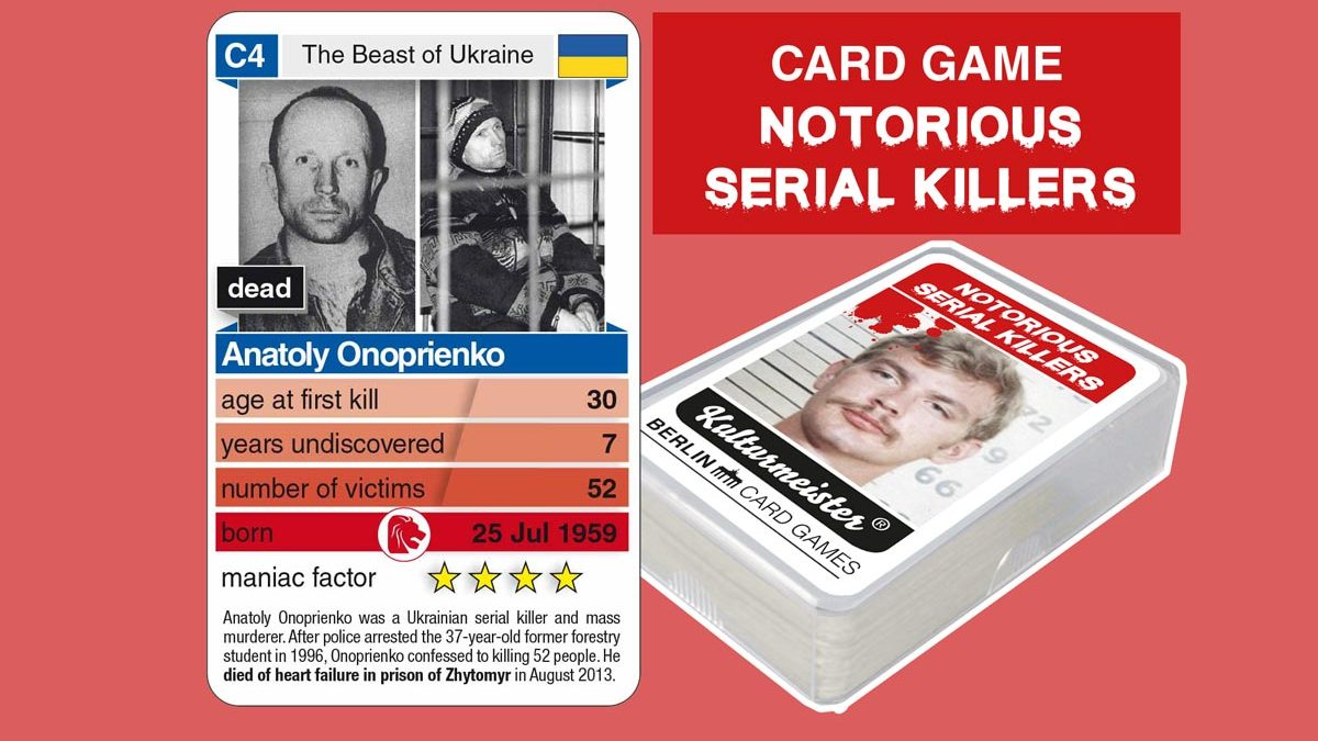 cardgame Notorious Serial Killers: playing card C4 with facts about serial killer Anatoly Onoprienko