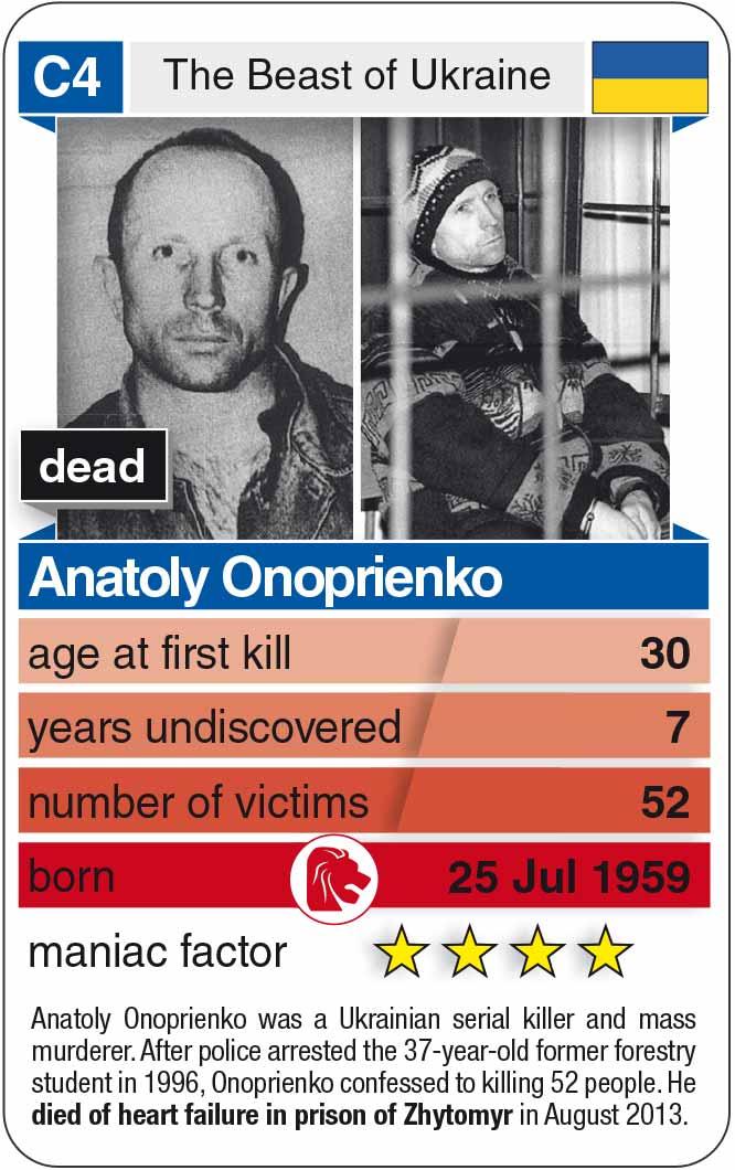 Spielkarte C4: Anatoly Onoprienko (* 1959 – † 2013)