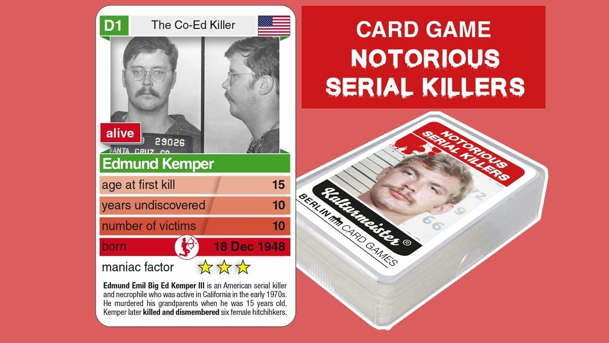 cardgame Notorious Serial Killers: playing card D1 with facts about serial killer Edmund Kemper
