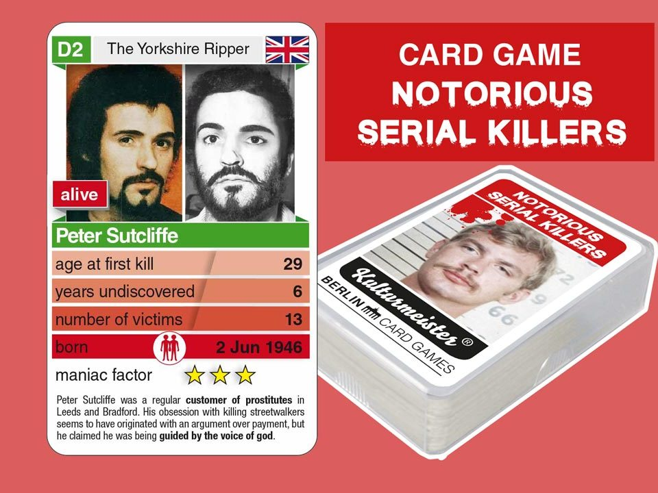 cardgame Notorious Serial Killers: playing card D2 with facts about serial killer Peter Sutcliffe