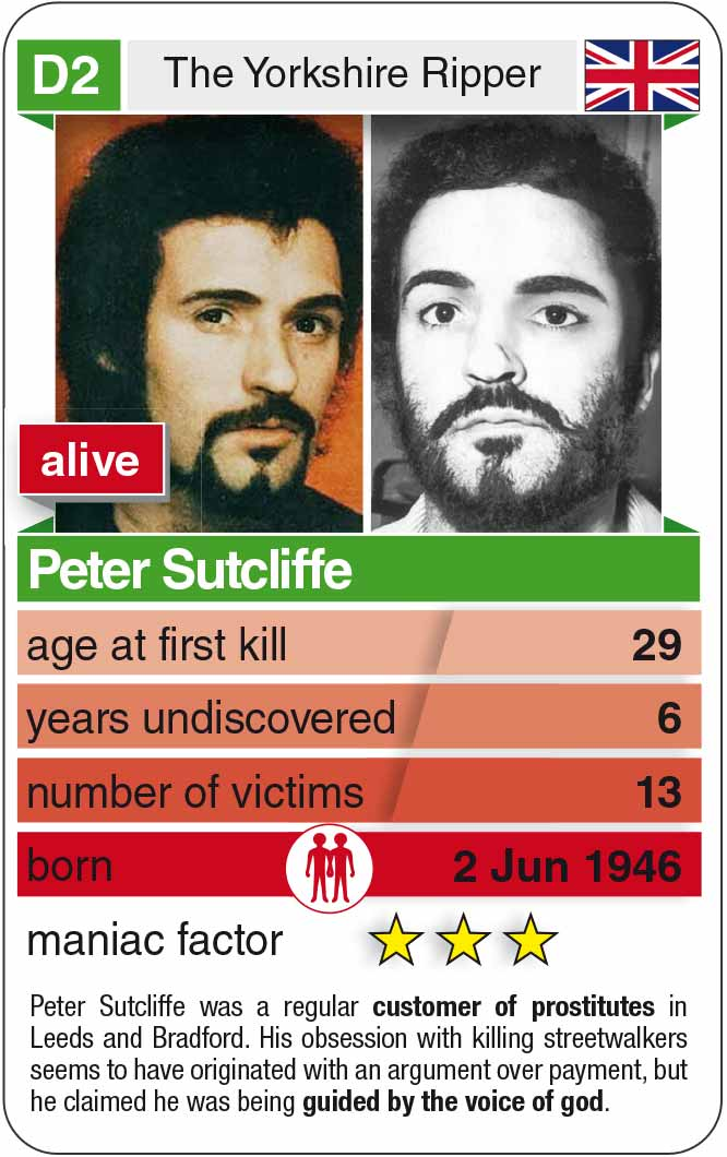playing card D2: Peter Sutcliffe (* 1946 – today)