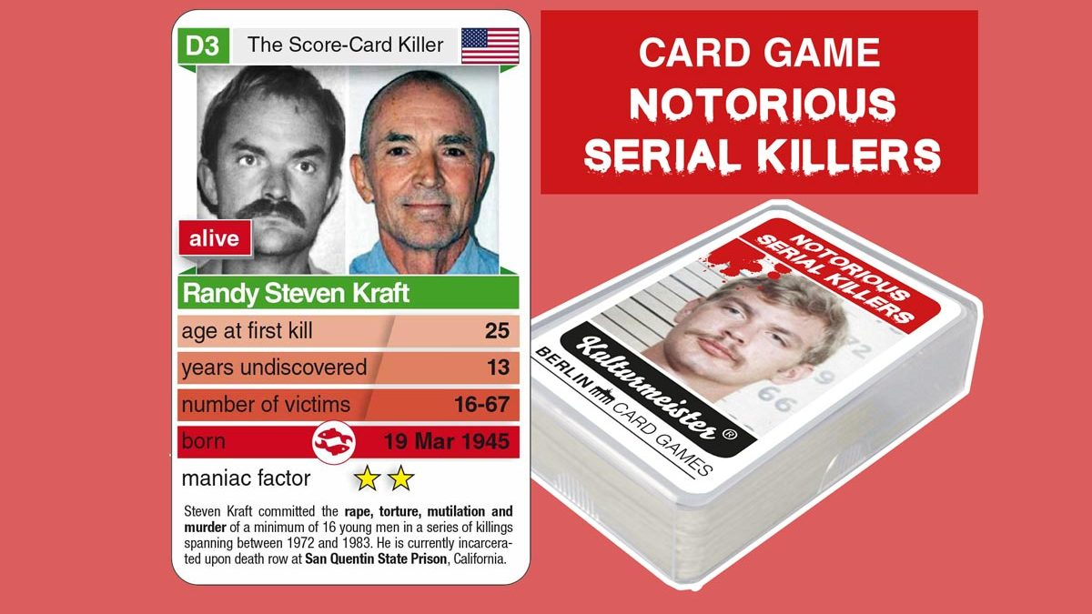 cardgame Notorious Serial Killers: playing card D3 with facts about serial killer Randy Steven Kraft