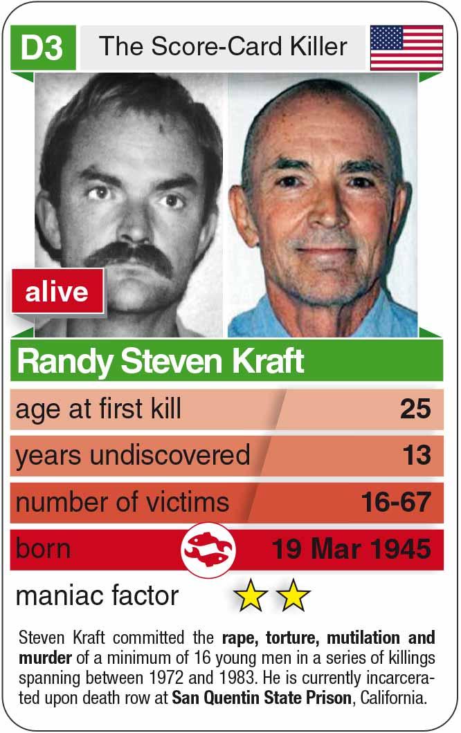 playing card D3: Randy Steven Kraft (* 1945 – today)