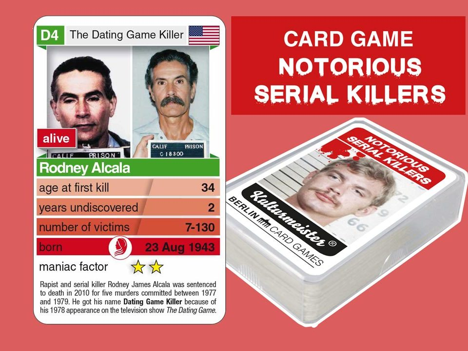 cardgame Notorious Serial Killers: playing card D4 with facts about serial killer Rodney Alcala