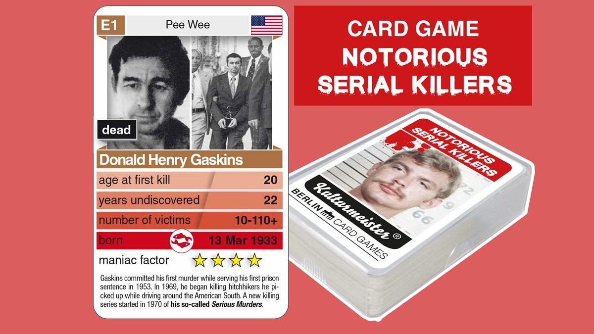 cardgame Notorious Serial Killers: playing card E1 with facts about serial killer Donald Henry Gaskins
