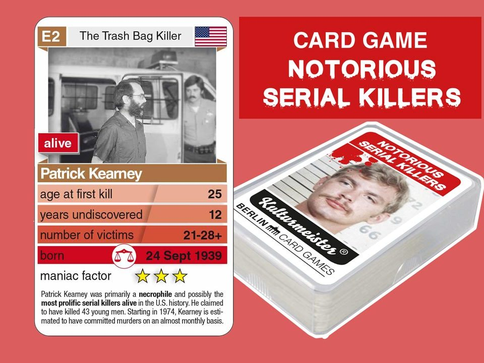 cardgame Notorious Serial Killers: playing card E2 with facts about serial killer Patrick Kearney