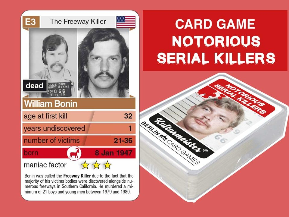 cardgame Notorious Serial Killers: playing card E3 with facts about serial killer William Bonin