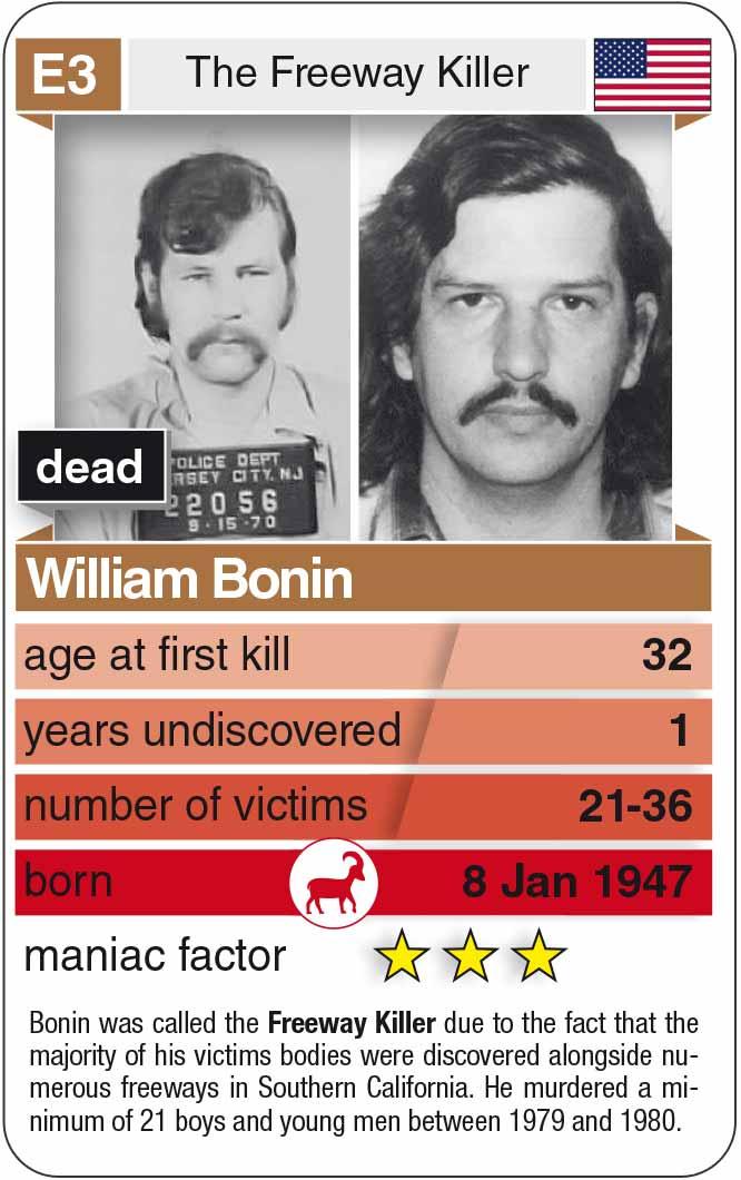 playing card E3: William Bonin (* 1947 – † 1996)