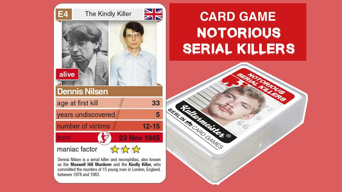 cardgame Notorious Serial Killers: playing card E4 with facts about serial killer Dennis Nilsen