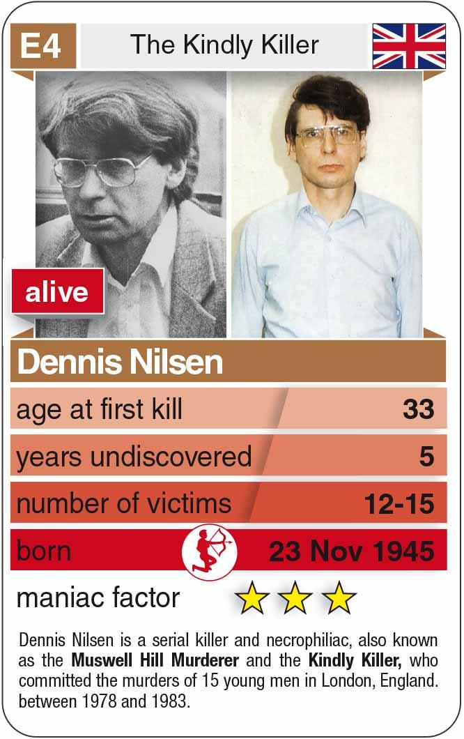 playing card E4: Dennis Nilsen (* 1945 – † 2018)
